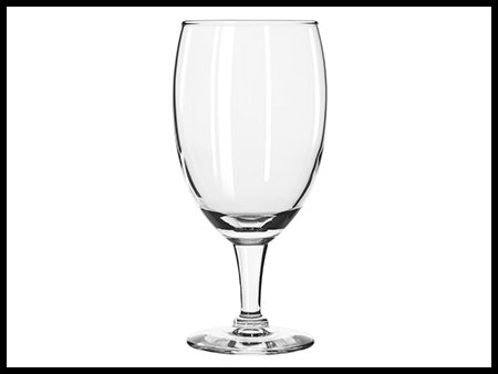 Water Goblet 12 Oz on wedding tables and chairs for rent